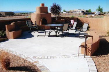 Patio With Walkway, Benches, And Kiva Fireplace By Mountain Paradise  Landscaping, Rio Rancho