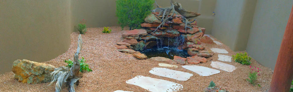 Landscaping water feature, fountain, waterfall, backyard